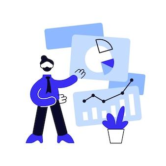 Rapporteer grafiekvisualisatie. analytics, statistieken, analyse. ontwikkelaar presenteert nieuwe innovatieve visualisatie-applicatie voor infographics.