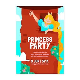 Rapunzel verjaardag uitnodiging sjabloon