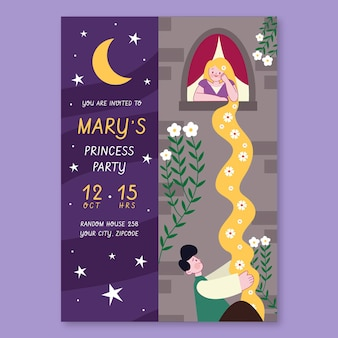 Rapunzel verjaardagsuitnodiging sjabloon