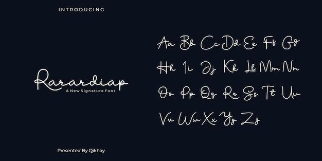 Rarardiap handtekening lettertype