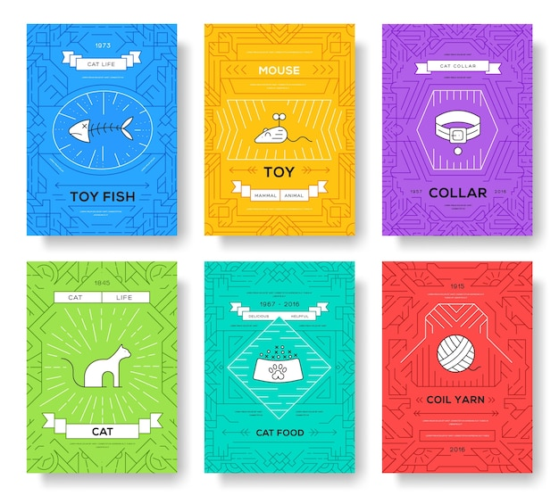 Rassen katten dunne lijn brochure kaarten set