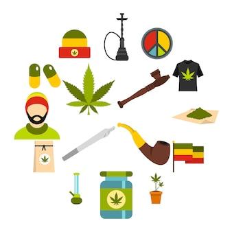 Rastafari iconen set, vlakke stijl