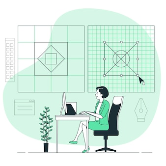 Raster ontwerp concept illustratie