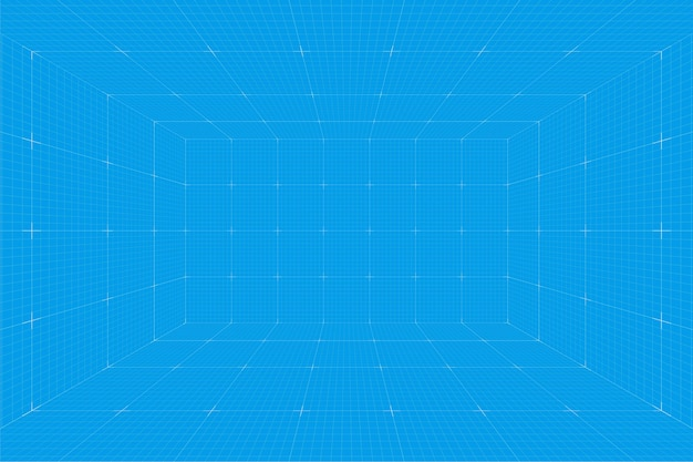 Raster perspectief blauwdruk kamer. wireframe millimeter papier achtergrond. digitaal cyberbox-technologiemodel. vector lege architecturale sjabloon