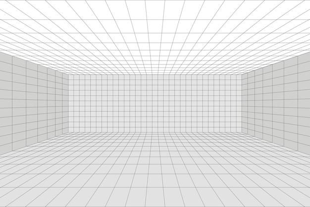 Raster perspectief witte kamer met grijze draadframe achtergrond. digitaal cyberbox-technologiemodel. vector abstracte architecturale sjabloon
