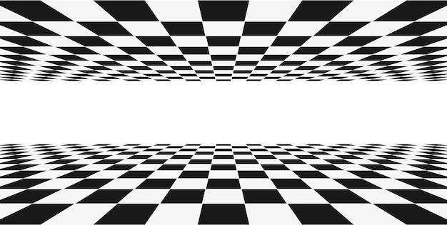 Raster perspectief zwart-wit kamer. schaken draadframe achtergrond. digitaal cyberbox-technologiemodel. sjabloon voor vector abstracte illusie