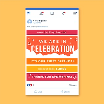 Raster verjaardag facebook berichtsjabloon