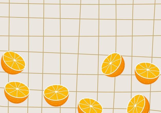 Rasterlijnenpatroon met sinaasappelschijfjes achtergrond. vector illustratie. abstracte achtergrond.