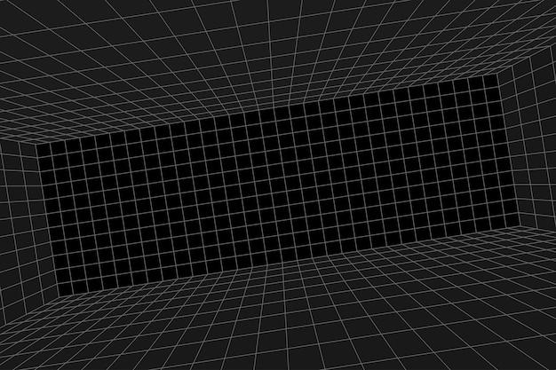 Rasterperspectief glooiende zwarte kamer. grijze draadframe achtergrond. digitaal cyberbox-technologiemodel. vector abstracte architecturale sjabloon