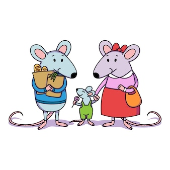Rat familie. papa heeft pakketten met aankopen in de winkel, mama houdt een kind bij de hand, een kleine jongen met snoep.