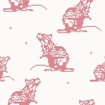 Rat - gebreide naadloze patroon in rode kleur. symbool van 2020 op de chinese kalender.