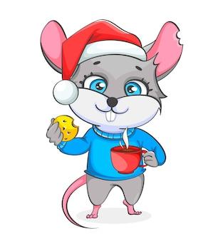 Rat in kerstmuts houdt koekje en een kopje koffie