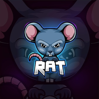 Rat mascotte esport logo ontwerp