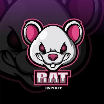 Rat mascotte esport logo.
