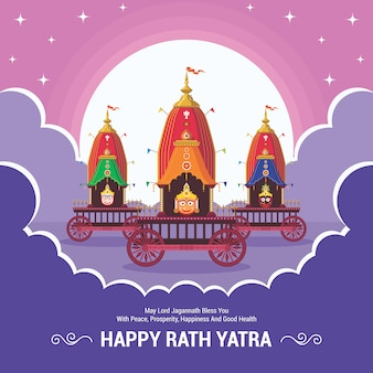 Rath yatra-festival. gelukkig rath yatra-feest voor lord jagannath, balabhadra en subhadra.