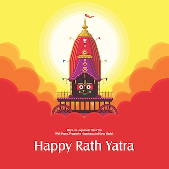 Ratha yatra festival viering voor lord jagannath, balabhadra en subhadra. lord jagannath jaarlijks rathayatra-festival in odisha en gujarat. rath yatra viering achtergrond.