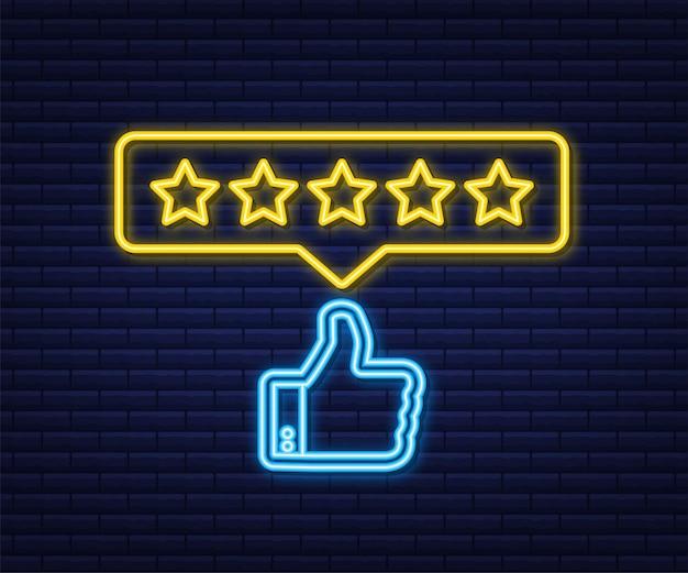 Rating sterren neon teken. gebruikersrecensies, beoordeling, classificatieconcept. genieten van de app.