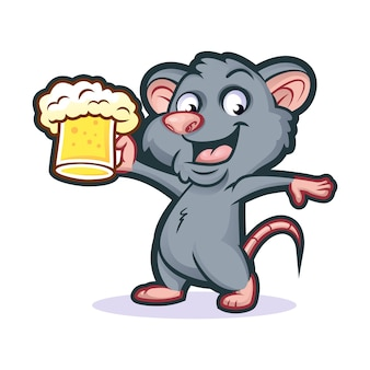 Ratted beer mascot design
