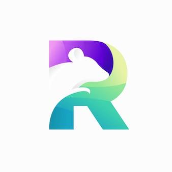 Rattenlogo met letter r-concept