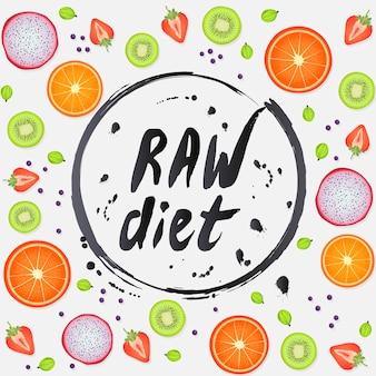 Rauw dieet gezond voedsel belettering