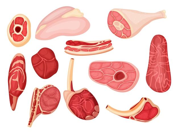 Rauw vlees. varkens-, lams- of runderlende, karbonade, rib en biefstuk. cartoon rauw vlees pictogrammenset op witte achtergrond. voedsel voor barbecue illustratie. slagerij product ander soort