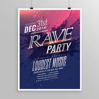 Rave party muziek flyer template