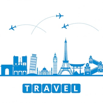 Ravel en toerisme en vervoer de bezienswaardigheden van de wereld als achtergrond