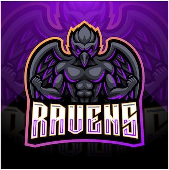 Raven esport mascotte logo ontwerp