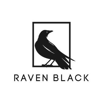 Raven kraai zwart silhouet elegantie logo inspiratie vector