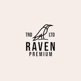 Raven lijn vintage logo ontwerp