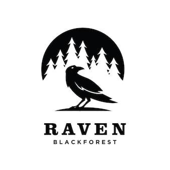 Raven pine tree embleemontwerp pictogram