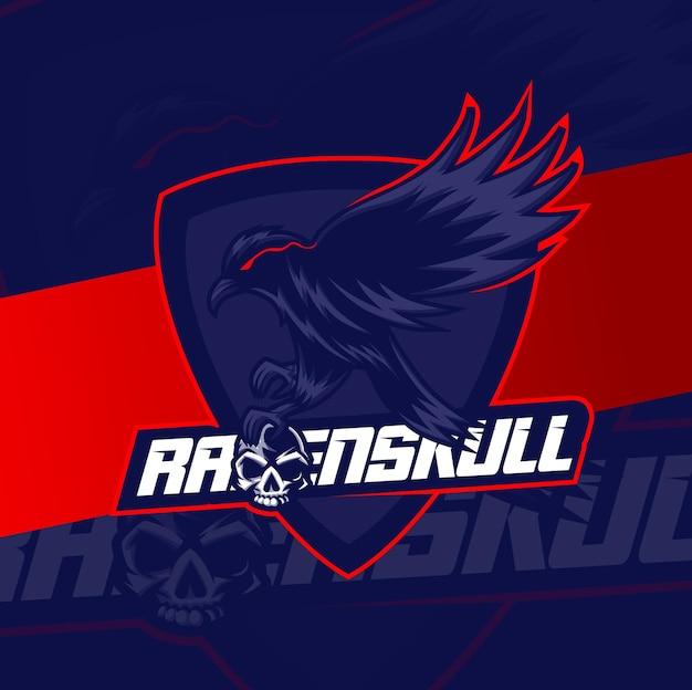 Raven vogel schedel mascotte esport ontwerp karakter voor sport gaming en halloween