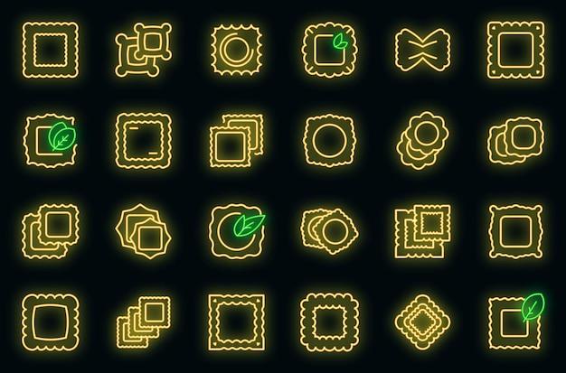 Ravioli pictogrammen instellen vector neon