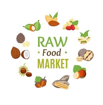 Raw food markt ronde ontwerpsjabloon heks noten pictogrammen instellen platte ontwerpstijl. natuurlijke gezonde snack. vector illustratie