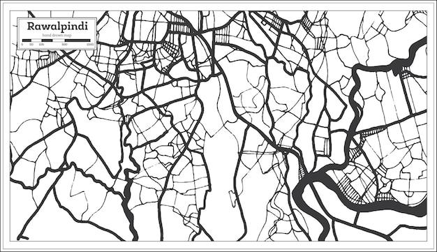Rawalpindi pakistan stadsplattegrond in retro stijl in zwart-witte kleur. overzicht kaart. vectorillustratie.