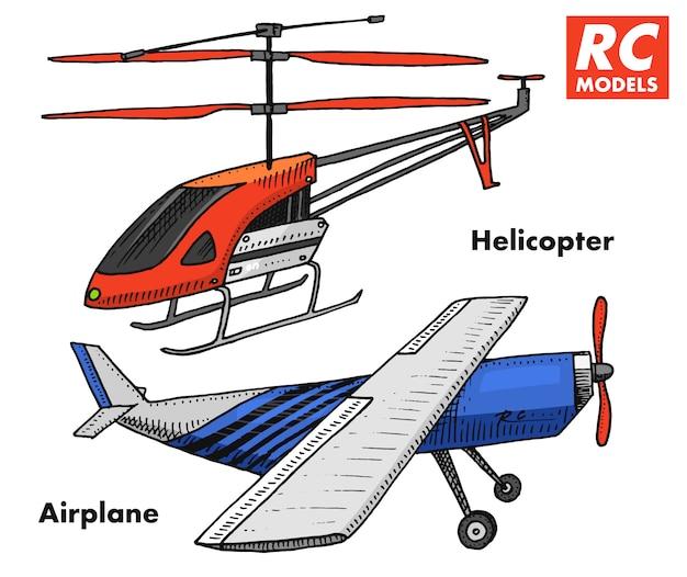 Rc-transport, modellen met afstandsbediening. speelgoedelementen voor emblemen, pictogram. helikopter en vliegtuig of vliegtuig. heropleving radio tuner uitzendsysteem. innovatieve technologieën. gegraveerde hand getrokken.