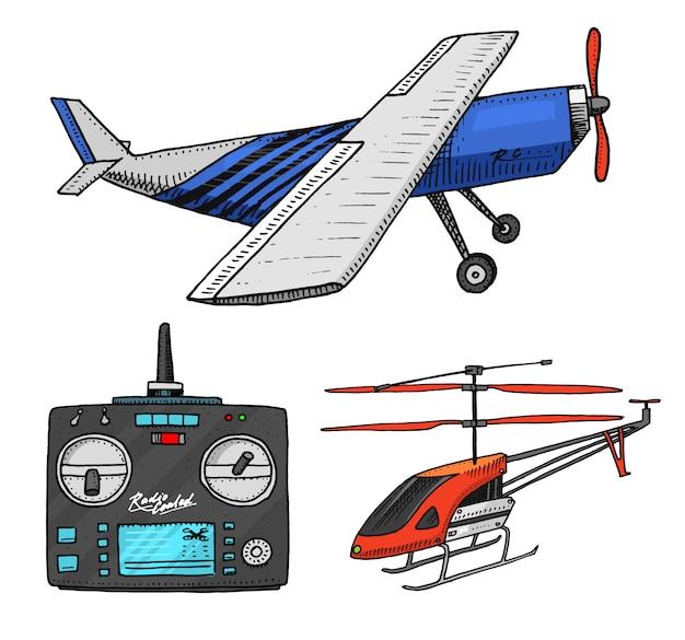 Rc transport, vliegtuigen, modellen met afstandsbediening. speelgoedelementen voor emblemen, heroplevingsradio's, tuneromroepsysteem. innovatieve technologieën. gegraveerde hand getrokken.