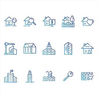 Real estate en gebouwen iconen