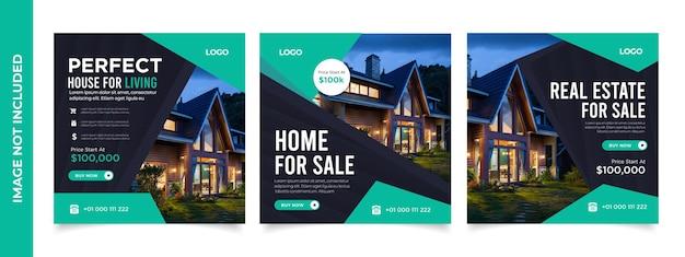 Real estate social media post-sjabloon elegant van real estate of home sale social media-promotie