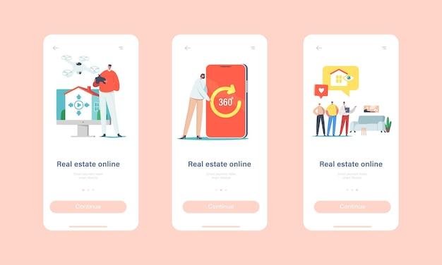 Real estate virtual tour mobiele app-pagina onboard-schermsjabloon. makelaar en klanten kiezen op afstand een appartement om te kopen of te huren. kleine mensen bij enorm smartphoneconcept. cartoon vectorillustratie