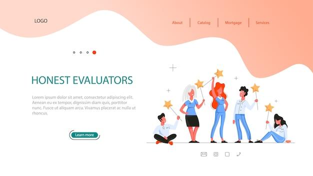 Real etate voordeel webbanner. idee van eerlijke evaluatoren. veilig zakelijk contract, hypotheek en verhuur. gekwalificeerde makelaar of makelaar.