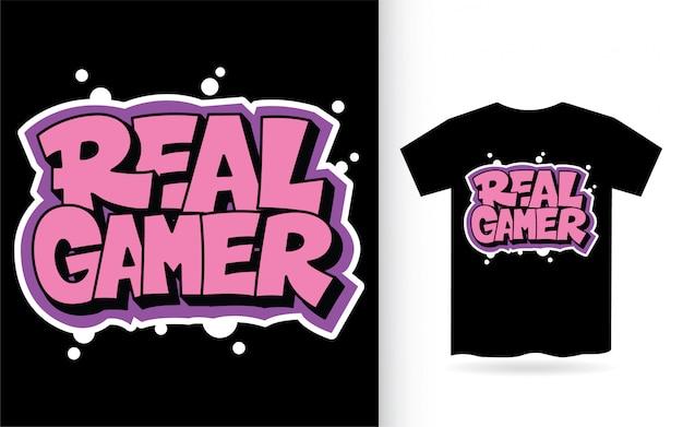Real gamer typografie voor t-shirt print