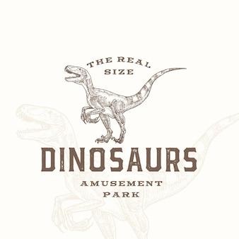 Real size dinosaurussen pretpark abstract teken symbool of logo Premium Vector