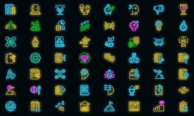 Realisatie pictogrammen instellen. overzicht set van realisatie vector iconen neon kleur op zwart