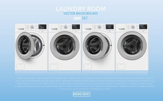 Realisic vector wasmachines op blauw