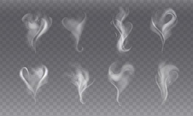 Realisitc set met stoom rook verschillende vormen op grijze achtergrond. abstracte rookgolven of witte damp van koffie of thee, warm eten of drinken, sigaret. transparante elementen voor menu. mist effect.
