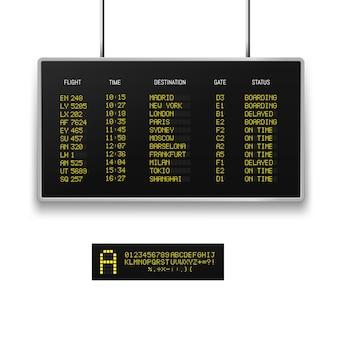 Realistisch 3d digitaal geleid luchthavenbord met vluchtschema.