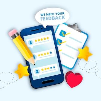 Realistisch 3d-feedbackconcept