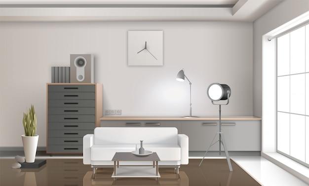 Realistisch 3d-ontwerp met lounge-interieur
