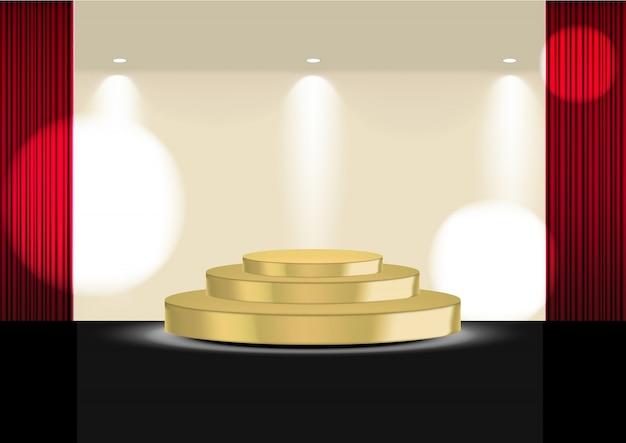 Realistisch 3d open rood gordijn op gouden podium of bioscoop voor show, concert of presentatie met spotlight